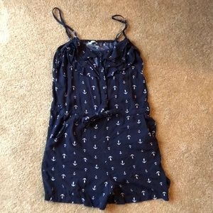 Navy Anchor Romper with Pockets